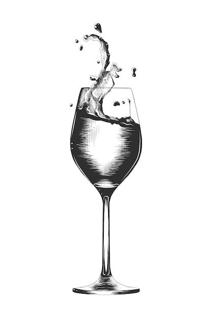 Hand getrokken schets van een een glas wijn Premium Vector