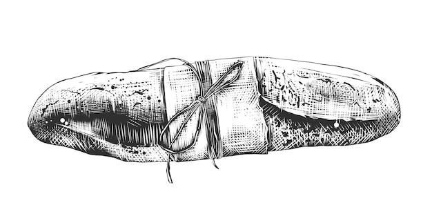 Hand getrokken schets van franse baguette in zwart-wit Premium Vector