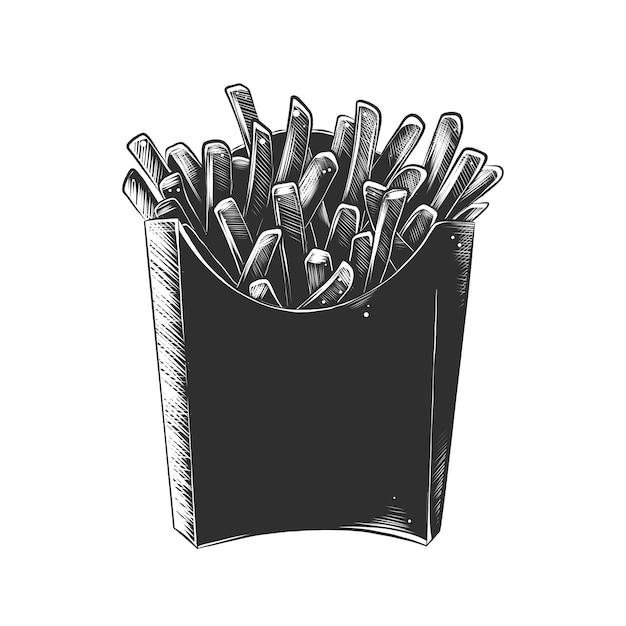 Hand getrokken schets van franse frietjes in zwart-wit Premium Vector