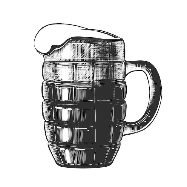 Hand getrokken schets van glas bier in zwart-wit Premium Vector