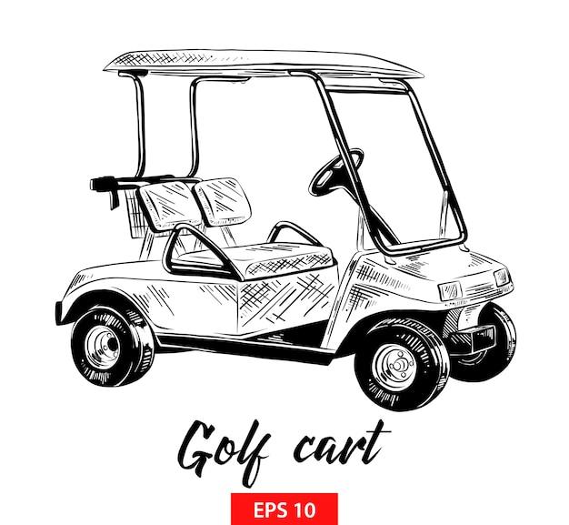Hand getrokken schets van golfkar in zwart Premium Vector
