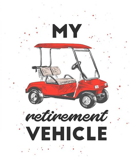 Hand getrokken schets van golfkar met typografie Premium Vector