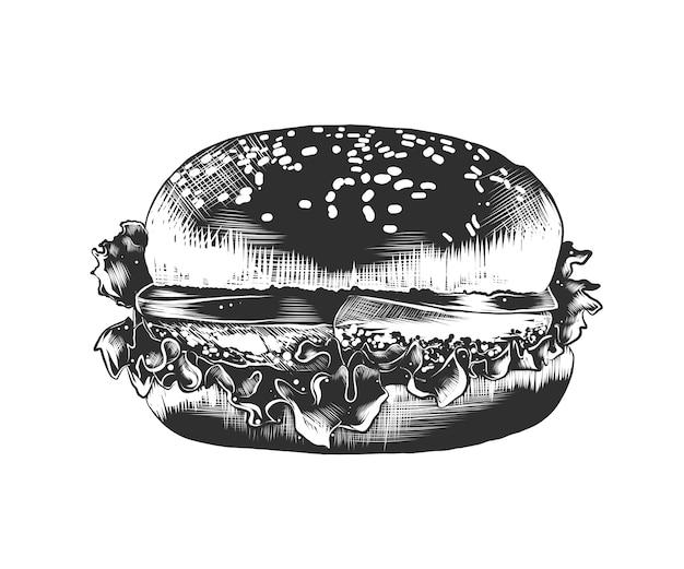 Hand getrokken schets van hamburger in zwart-wit Premium Vector