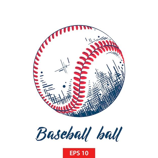 Hand getrokken schets van honkbal of softbal bal Premium Vector