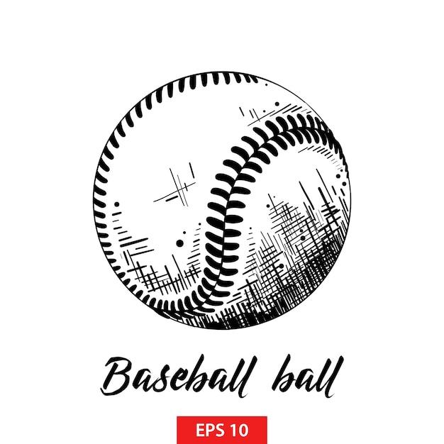 Hand getrokken schets van honkbal of softbalbal Premium Vector