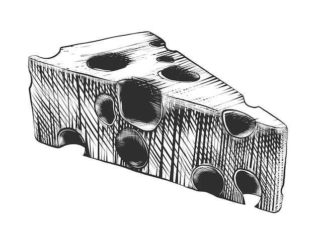 Hand getrokken schets van kaas in zwart-wit Premium Vector