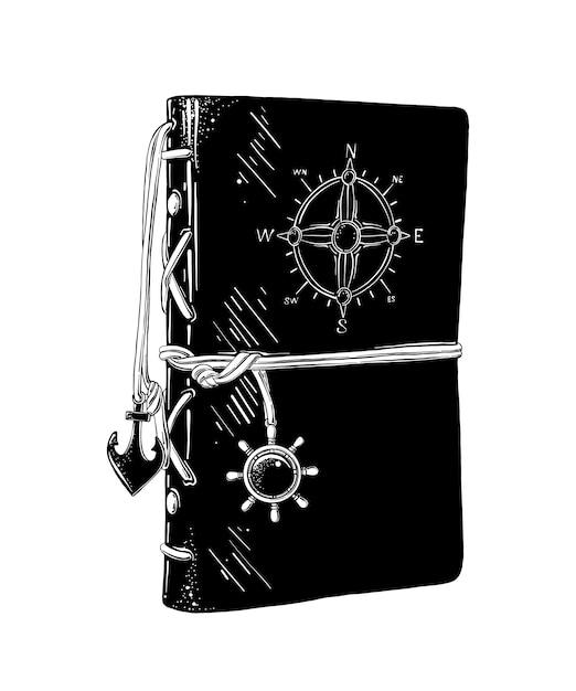 Hand getrokken schets van kapiteins dagboek in het zwart Premium Vector
