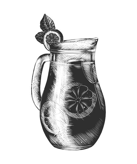 Hand getrokken schets van limonadeglas in zwart-wit Premium Vector