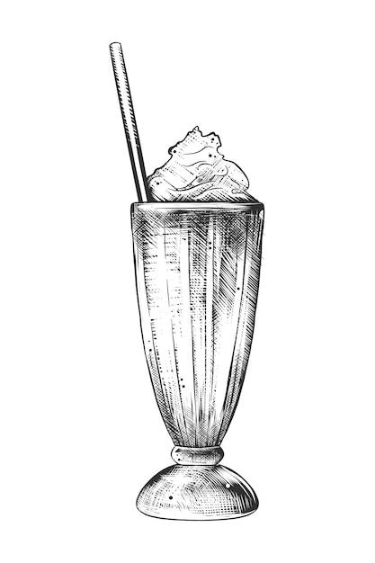 Hand getrokken schets van milkshake in zwart-wit Premium Vector