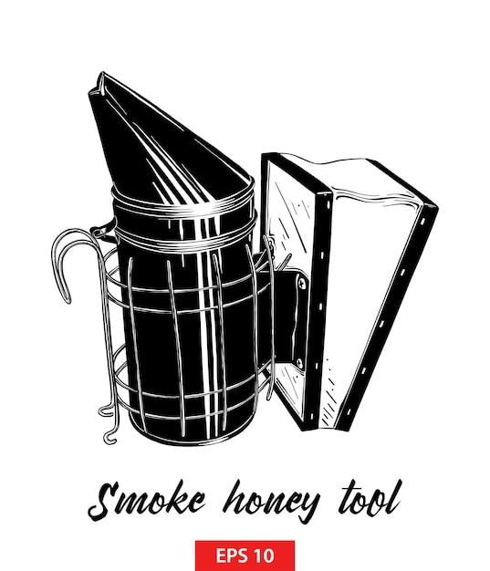 Hand getrokken schets van rook honing hulpmiddel Premium Vector