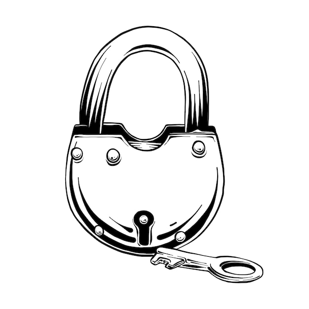 Hand getrokken schets van slot met sleutel Premium Vector