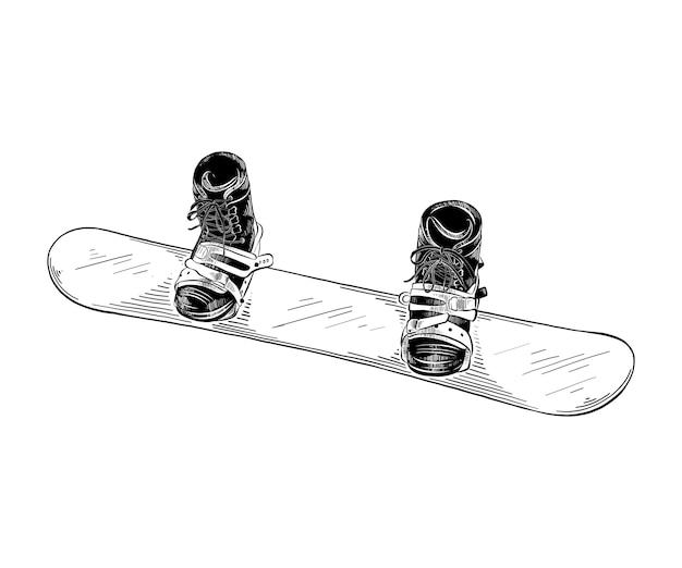 Hand getrokken schets van snowboard in het zwart Premium Vector