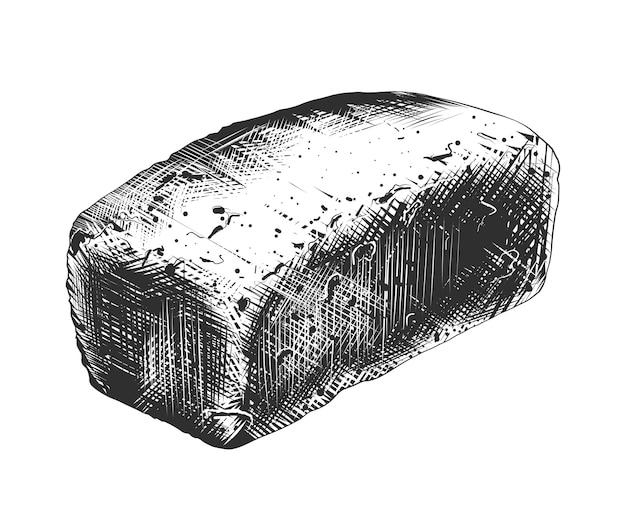 Hand getrokken schets van tarwebrood in zwart-wit Premium Vector