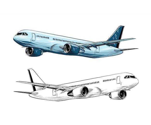 Hand getrokken schets van vliegtuigen in blauwe kleur geïsoleerd. Premium Vector
