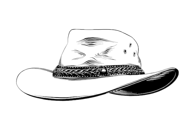 Hand getrokken schets van westerse cowboyhoed Premium Vector