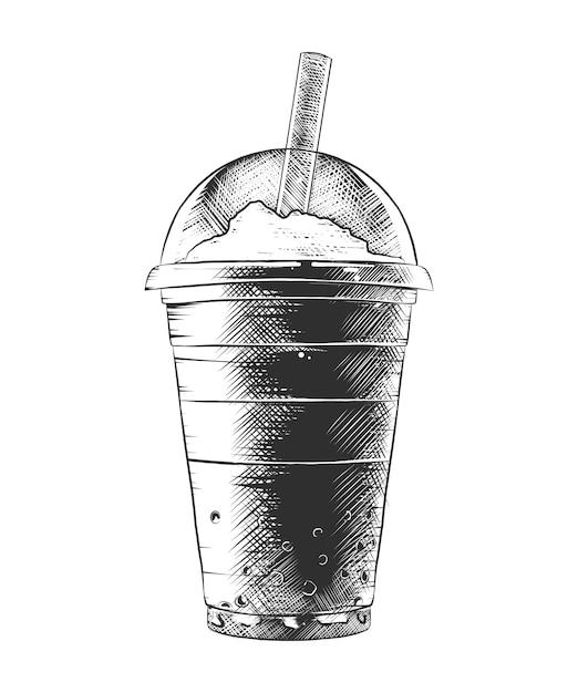 Hand getrokken schets van zomer milkshake Premium Vector