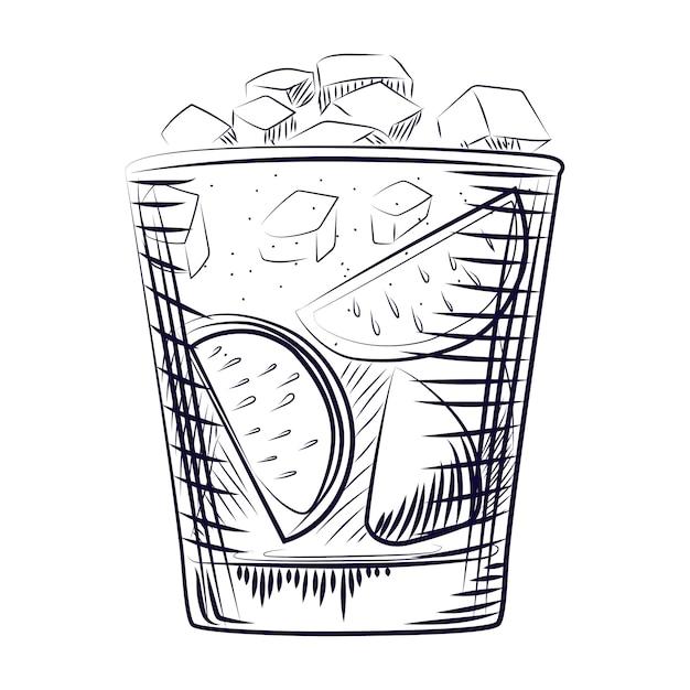 Hand getrokken schetscocktail. alcohol drinken cocktail. Premium Vector