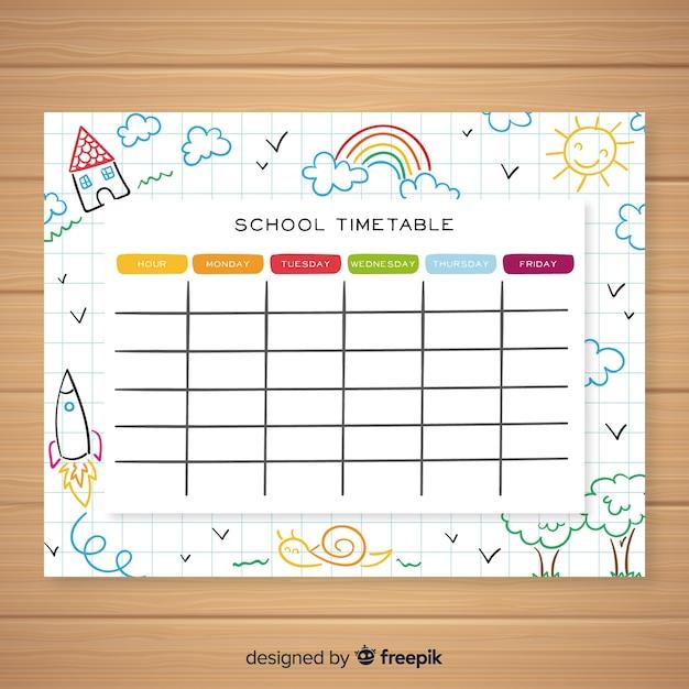 Hand getrokken school tijdschema sjabloon Gratis Vector