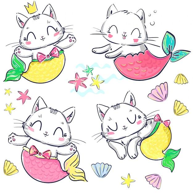 Hand getrokken set kitten zeemeermin en shell. fantasie schattige kat. Premium Vector
