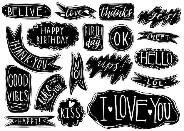 Hand getrokken set tekstballonnen met handgeschreven korte zinnen ja Premium Vector