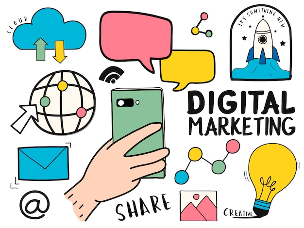 Hand getrokken set van digitale marketing symbolen illustratie Gratis Vector