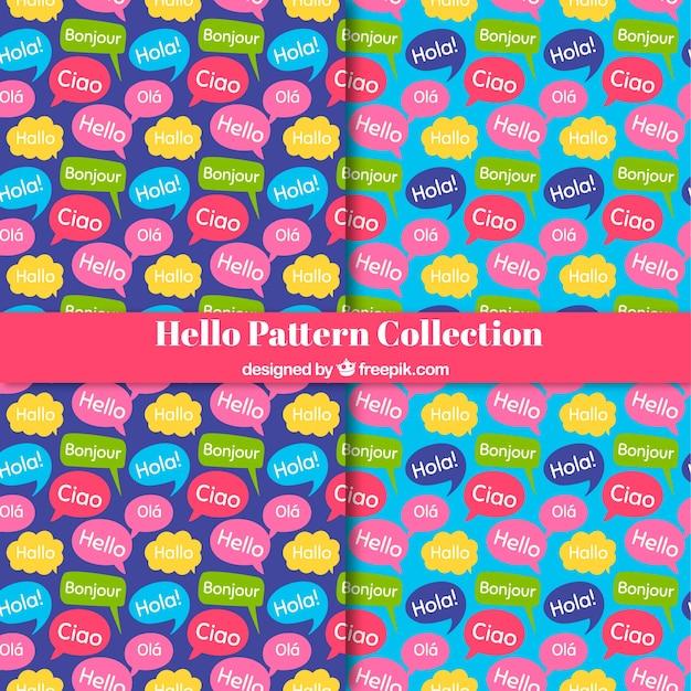 Hand getrokken set van hallo woord patroon in verschillende talen Gratis Vector