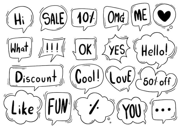 Hand getrokken set van schattige tekstballon met tekst in doodle stijl Premium Vector