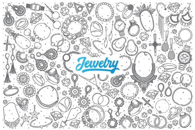 Hand getrokken sieraden doodle set achtergrond met blauwe letters Premium Vector