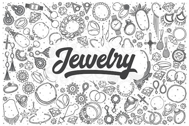 Hand getrokken sieraden doodle set. belettering - sieraden Premium Vector