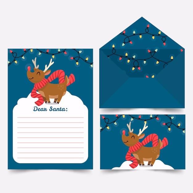 Hand getrokken sjabloon kerst briefpapier Gratis Vector