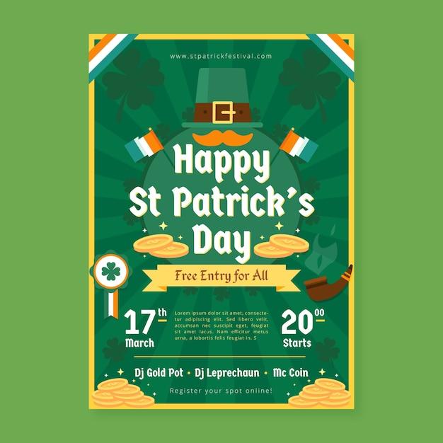 Hand getrokken sjabloon st. patrick's day flyer Gratis Vector
