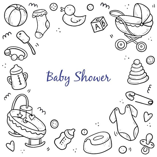 Hand getrokken sjabloon voor spandoek van baby doodle Premium Vector