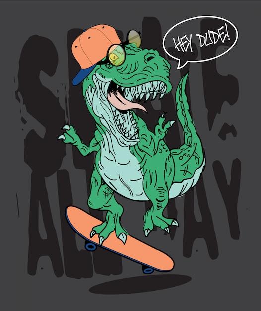Hand getrokken skater t-rex dinosaurusillustratie Premium Vector