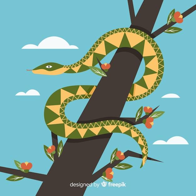 Hand getrokken slang op een tak achtergrond Gratis Vector