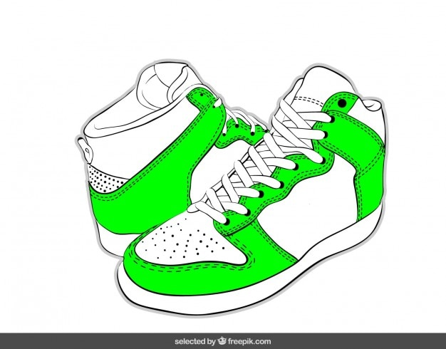 Hand getrokken sneakers in groen neon kleur Gratis Vector