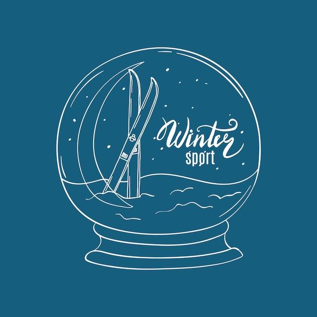 Hand getrokken sneeuwbal met ski's in sneeuw en binnen van letters voorzien Premium Vector
