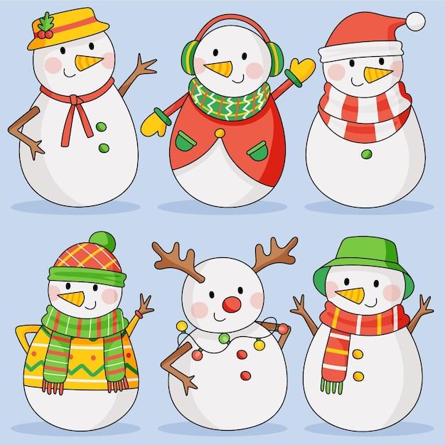 Hand getrokken sneeuwpop karakterverzameling Gratis Vector