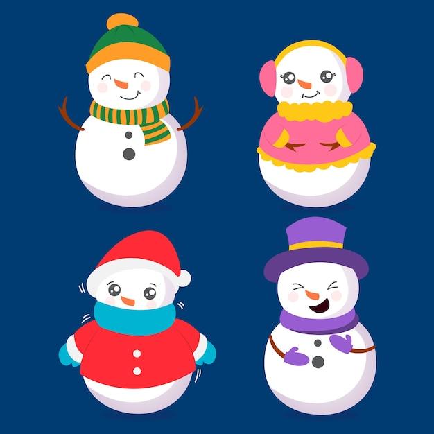 Hand getrokken sneeuwpop tekensverzameling Gratis Vector