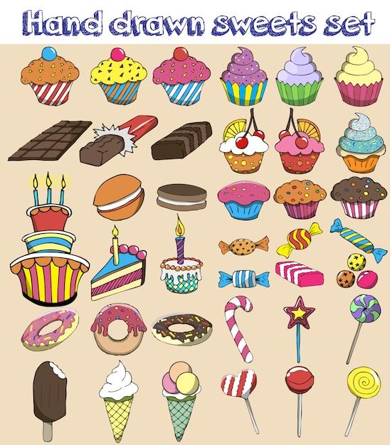 Hand getrokken snoepjes instellen. snoep, snoep, lolly, cake, cupcake, doughnut, makaron, ijs, gelei. Premium Vector