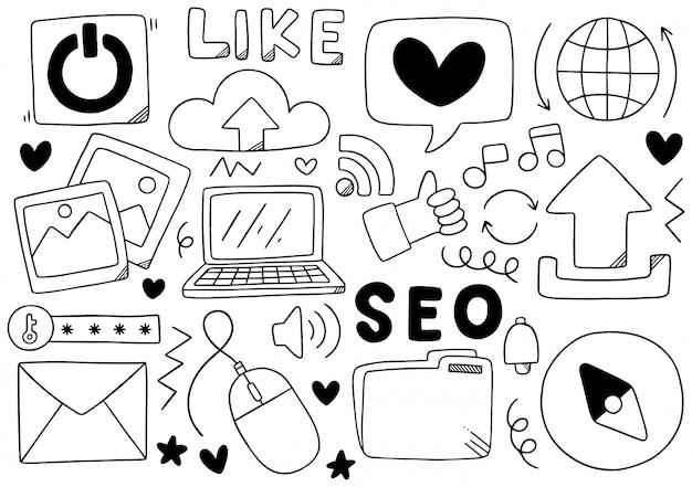 Hand getrokken sociale media doodle Premium Vector