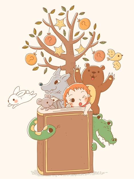 Hand getrokken sprookjesfiguren kwamen uit boek, dieren en klein meisje Premium Vector
