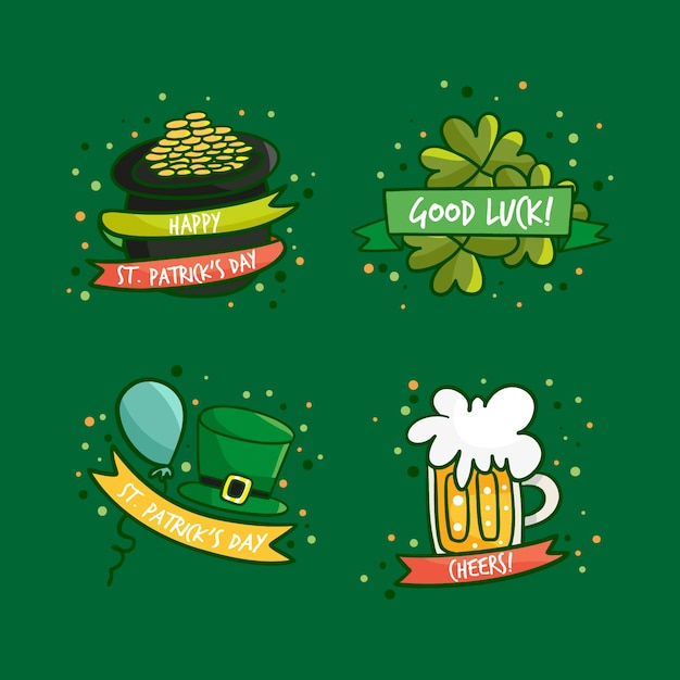 Hand getrokken st. patrick's day badge-collectie Gratis Vector