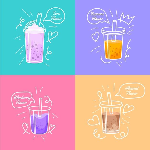 Hand getrokken stijl bubble tea-smaken Gratis Vector