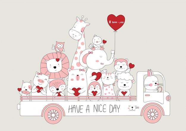 Hand getrokken stijl. cartoon schets de schattige baby dieren met auto Premium Vector