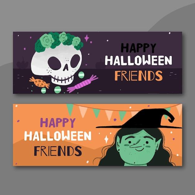 Hand getrokken stijl halloween banners Gratis Vector