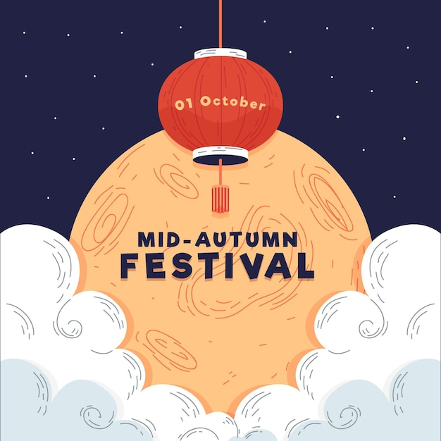 Hand getrokken stijl mid-autumn festival Gratis Vector