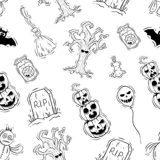 Hand getrokken stijl van halloween-pictogrammen in naadloze patroon Premium Vector