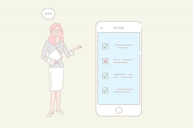 Hand getrokken stijl vectorillustratie van mobiel onderzoek, klantenbeoordeling. Premium Vector