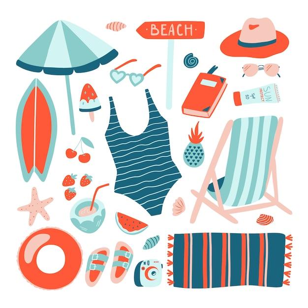 Hand getrokken summer beach-objecten collectie. Premium Vector
