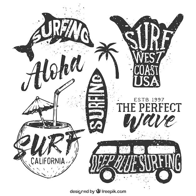 Hand getrokken surfen badges Gratis Vector